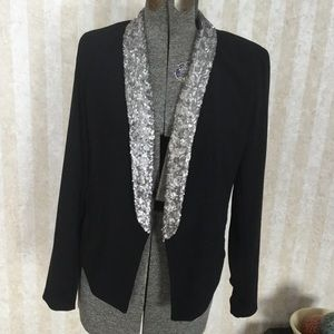 a.n.a. Sequined Collar Tuxedo Style Jacket